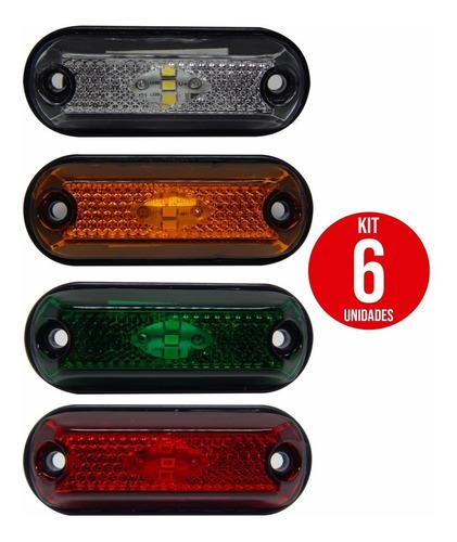 6x Lanterna Delimitadora Lateral Carreta Caminhão Baú 3leds