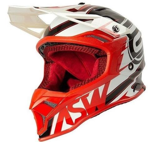 Capacete Motocross Cross Asw Fusion 2 Blade Branco Vermelho