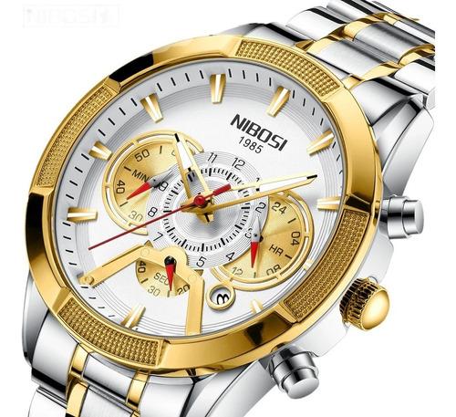 Relógio Nibosi 2379 Aço Inox Super Luxuoso Barato Promoção