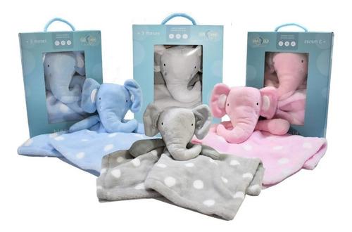 Naninha Bebe Paninho Pelúcia Elefante Rosa, Azul, Cinza