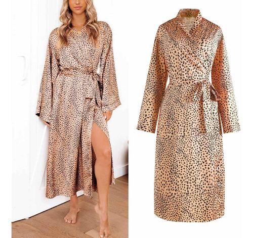 Womens Quimono Roupão Encobrir Leopardo Estampado Pijamas 18