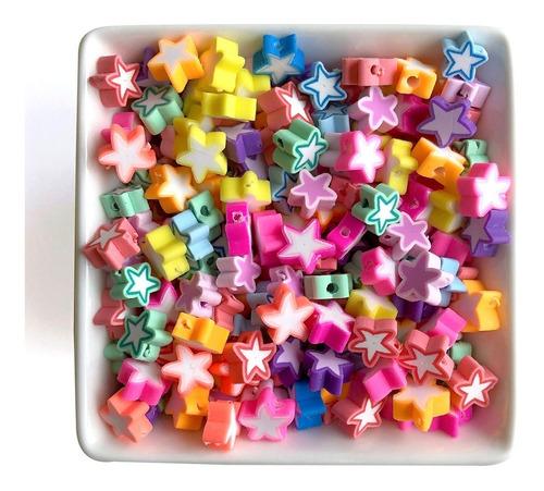 Miçanga Infantil Estrelas Coloridas Para Pulseiras - 50 Pçs