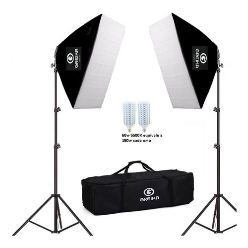 Kit Youtuber Soft box 50x70 Led 5500k 220v/110v Luz Continua