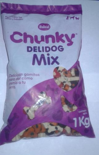 Recarga D 1kilo Chunky Delidog Mix Galleta Gomas Para Perro
