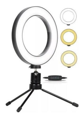 Ring Light De Mesa Iluminador De Led Tripé 6 Polegadas 16cm