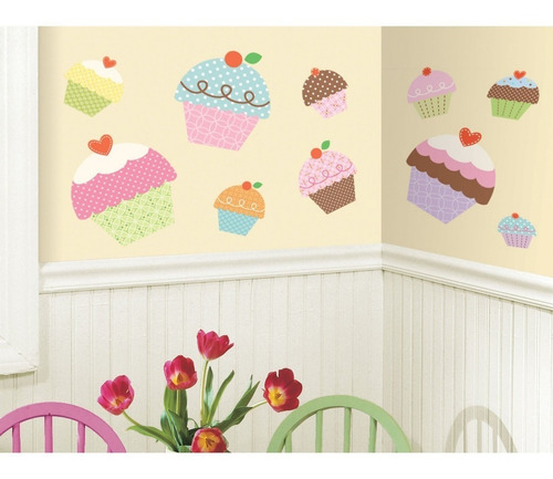 Vinilo Sticker De Pared Roommates Cupcakes Gigantes