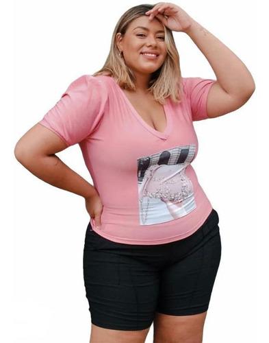 Bermuda Feminina Plus Size Preta Bengalini Gg Veste 46 E 48