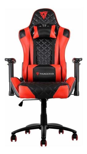 Cadeira De Escritório Thunderx3 Tgc12  Black E Red Com Estofado Do Couro Sintético