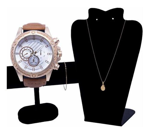 Relógio Masculino Luxo+ Corrente Cordão+ Pulseira+ Pingente