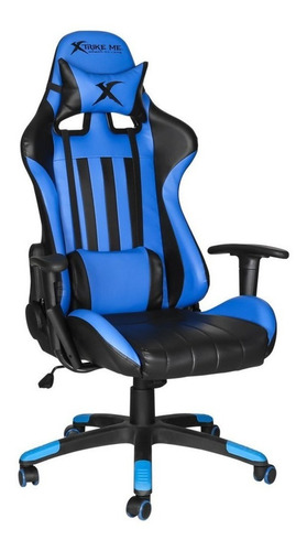 Silla De Escritorio Xtrike Me Gc-905 Gamer Ergonómica  Azul Y Negra Con Tapizado De Cuero Sintético