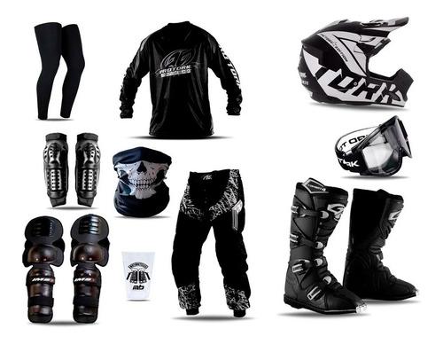 Kit Equipamento Roupa Insane Black Pro Tork Motocross Trilha