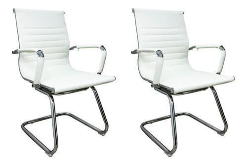 Kit 2 Cadeira De Escritório Diretor Charles Eame Eiffel Fixa