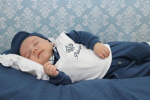Kit Saida De Maternidade Menino Azul 05 Peças Gabriel