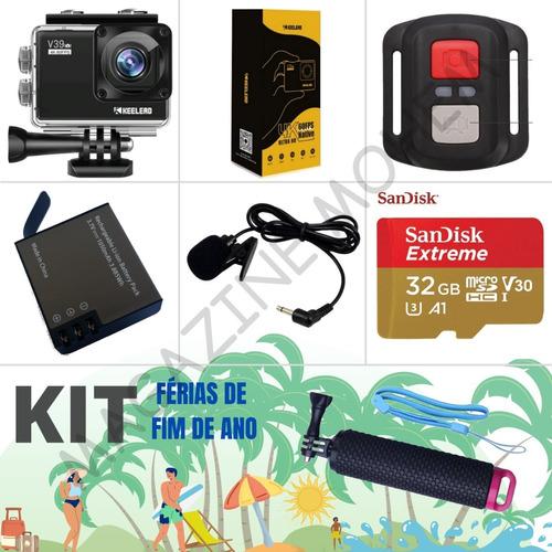 Kit Câmera 4k Ultra Hd + Microfone + Microsd + Bateria Extra