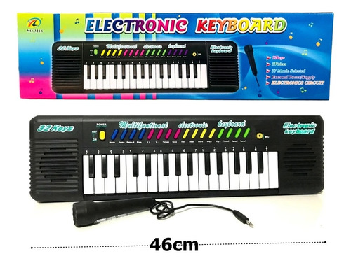 Teclado Infantil Musical 32 Teclas Keys Com Microfone Piano