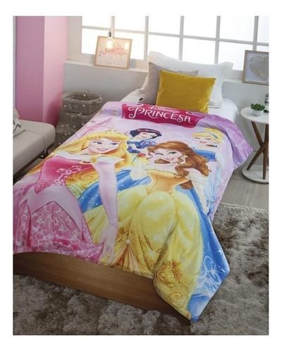 Cobertor Jolitex Ternille Licenciados Digital Hd Com Sherpa Solteiro Princesas Reino Encantado/rosa