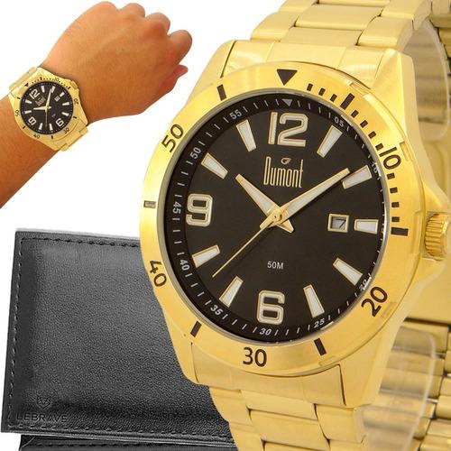 Relógio Dourado Masculino Dumont 1 Ano De Garantia Original