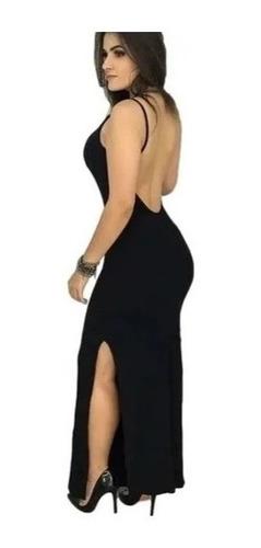 Vestido Longo Feminino Com Bojo Decote Costas Nua Racho Lateral