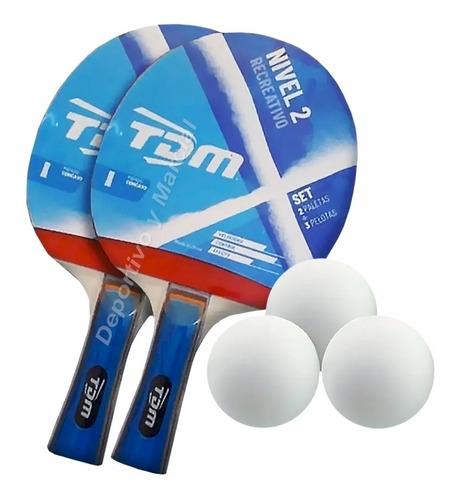 Set Tdm Nivel 2 Ping Pong: 2 Paletas Y 3 Pelotas * 1pingpong