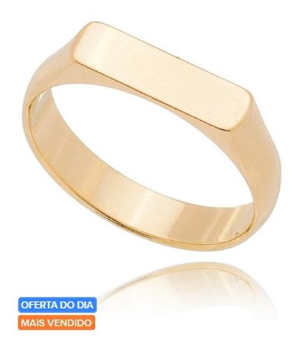 Anel De Ouro 18k Chapinha Retangular Liso Delicado Exclusivo