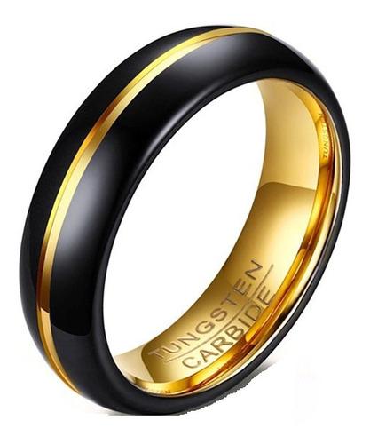 Par Aliança Tungstênio Preto Com Dourado 6mm