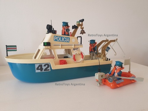 Playmobil Barco Policía Antex Vintage Retro Colección 70/80s