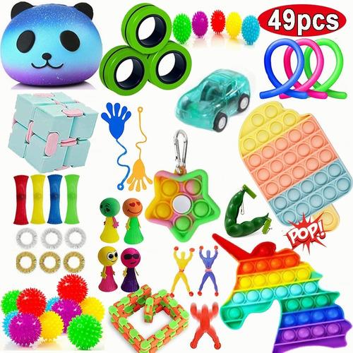 Kit Brinquedos Sensoriais Fidget Push Pop It 49 Pcs
