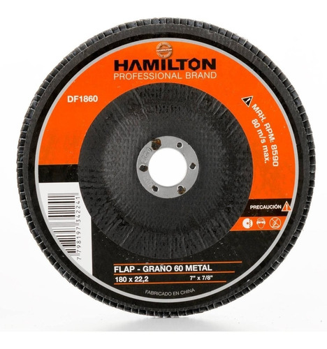 Disco Abrasivo Flap Hamilton Ox. Zirconio 7  180 Mm