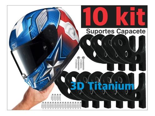 Kit 10 Suporte De Parede Para Pendurar Capacete E Acessórios