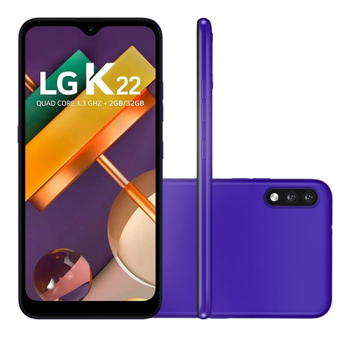 Smartphone LG K22 Tela 6,2 32gb 2gb Ram Android Azul