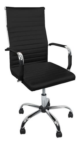 Cadeira Charles Eames Presidente Esteirinha Estofada Couro