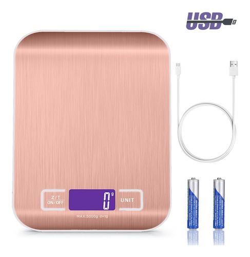 Báscula Digital Para Cocina Usb Recargable Balanza 5kg/11lbs