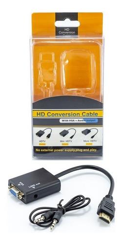 Cabo Conversor Hdmi P/ Vga Pc Xbox Monitor C/ Saída De Áudio