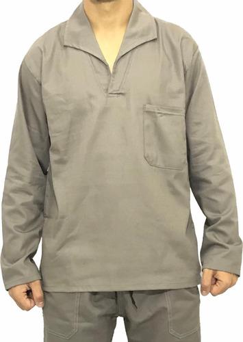 Camisa Brim Manga Longa Jaleco Uniforme Profissional Cinza