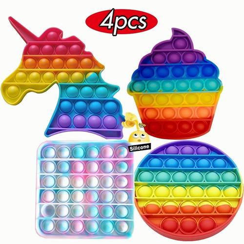 Kit De Brinquedos Pop It Fidget Bubble Rainbow 4pcs