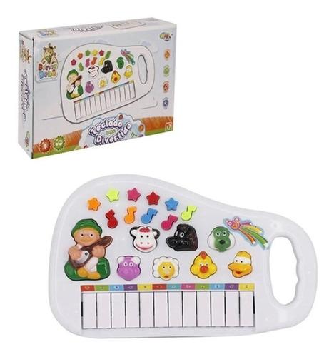Teclado Piano Infantil Som Animais Da Fazenda Brinquedo
