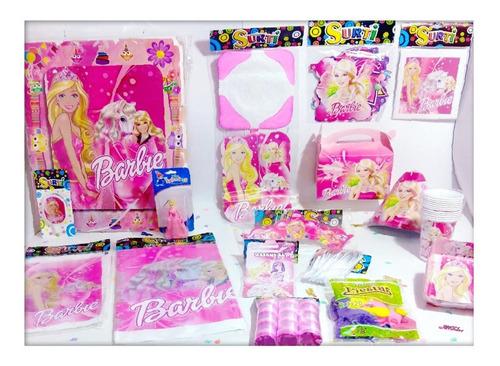 Kit Decoración Infantil Barbie 12 Invitados + Obsequio
