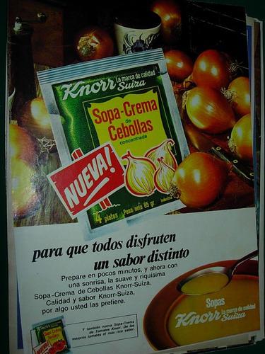 Publicidad Clipping Sopa Crema Cebollas Knorr Suiza Sobre
