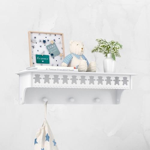Prateleira Cabideiro Ursinhos Quarto De Bebê - Branca Mdf