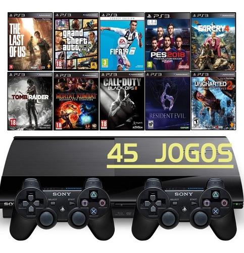 Ps3 Super Slim + 2 Controles + Gta5 + Fifa 19 + Far Cry 4