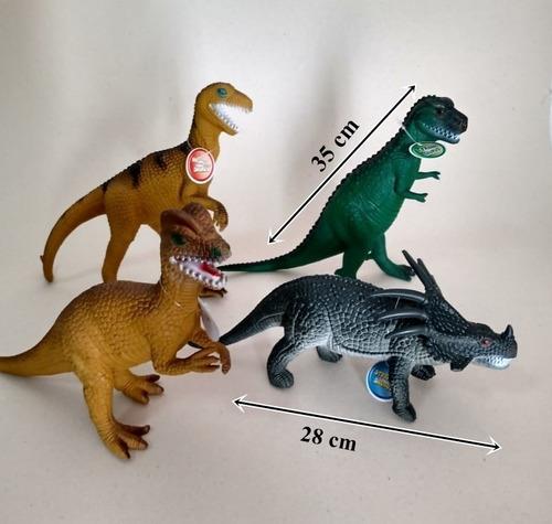 Kit 4 Dinossauros De Borracha Brinquedo Jurrassic Grande