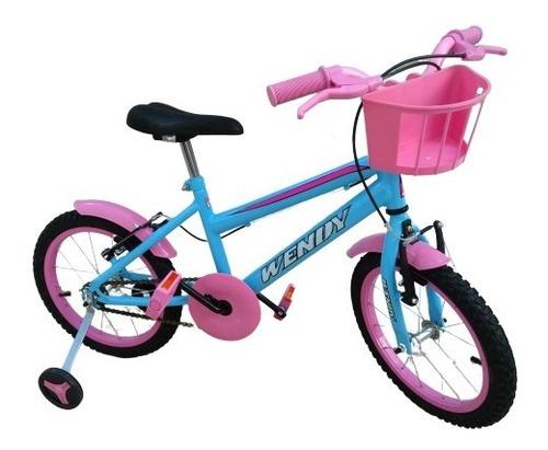Bicicleta Infantil Aro 16 Menina Adesivos Diversos + Brindes