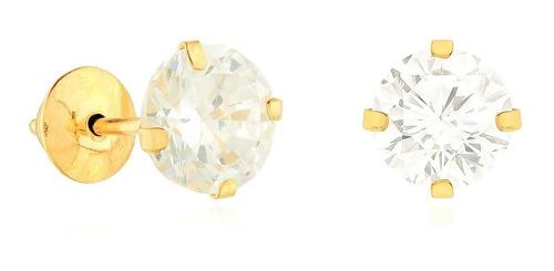 Brinco De Ouro 18k Diamante Sintetico,brilhante 4mm