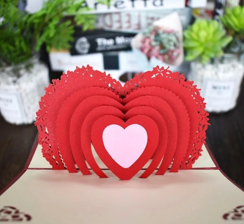 Cartão De Aniversário Presente 3d Coração Luxo Amor Amizade