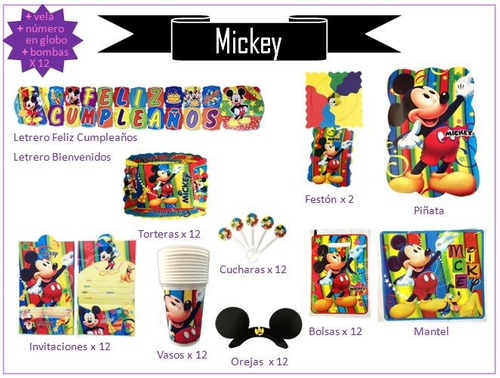 Kit Decoración  Fiesta Mickey Mouse, Cumpleaños, Piñata