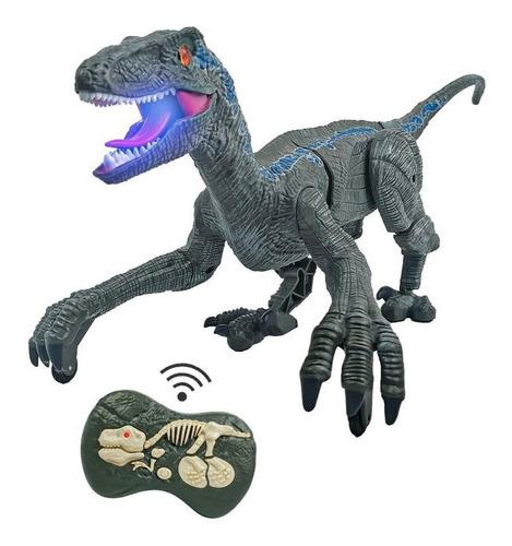 Dinossauro Com Controle Brinquedo Velociraptor Luz Som T-rex