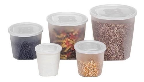 Jogo 5 Pote Plastico Conjunto Mantimento Alimento Arroz