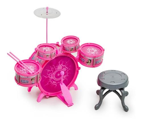 Bateria Infantil Rock Party Com Banquinho Banqueta Meninos