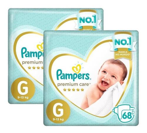 Kit Fraldas Pampers Premium Care Tamanho G Com 136 Unidades