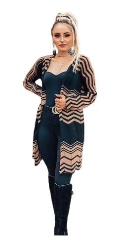 Kimono Feminino Casaco Reto Aberto Luxo Tricot Blusa De Frio